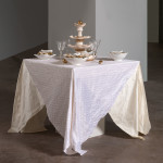 Table Setting (2012)<br>Porcelain, Glaze, Vintage Asian Decals, Gold Luster, Pins  (Photo: E.G. Schempf)