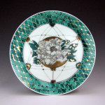 Plate with Flower and Japanese Pattern  (2015) </br>Porcelain